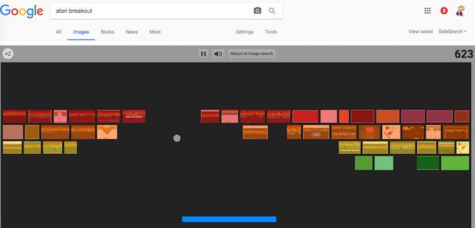 Play classic brick breaking game Atari Breakout in Google Images