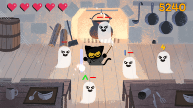 7 Quick Games You Can Play On Google Search google games doodle halloween cat