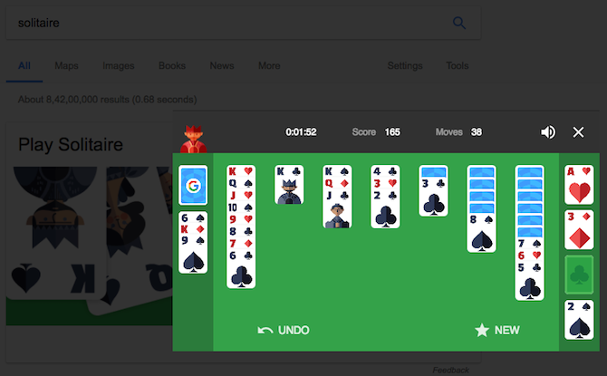Play Solitaire in Google Search