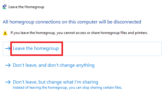 leave homegroup windows confirm