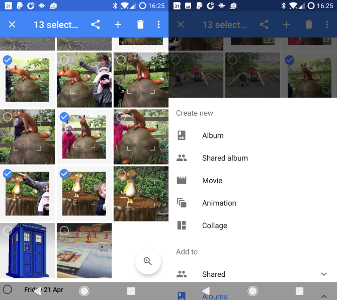 google photos android select