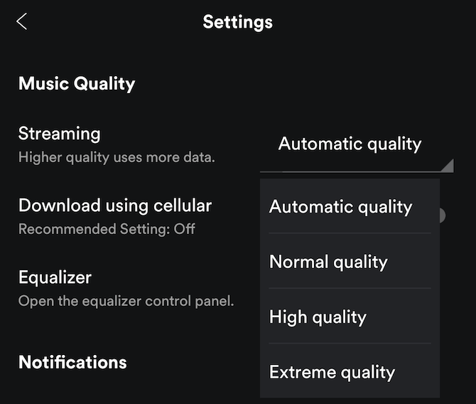 music streaming quality spotify