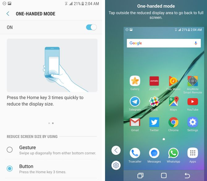 samsung touchwiz one-handed mode