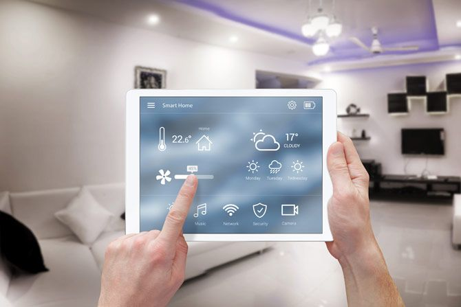 smart home app on tablet