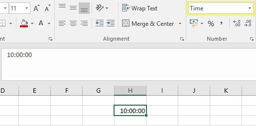 time formatted excel