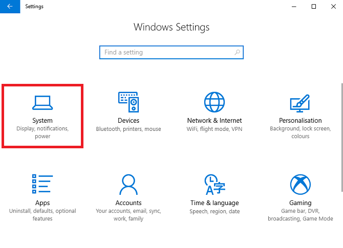 windows 10 settings system
