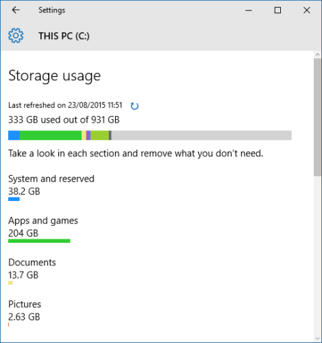 windows 10 storage usage space