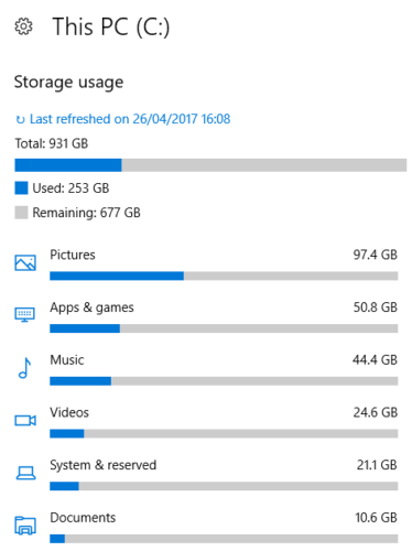 windows 10 storage used