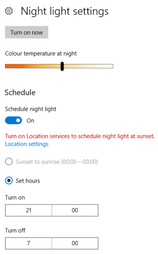 windows 10 night light settings