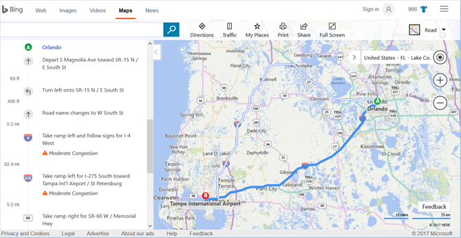 bing maps directions web