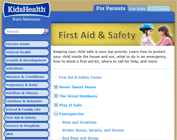 kidshealth first aid web