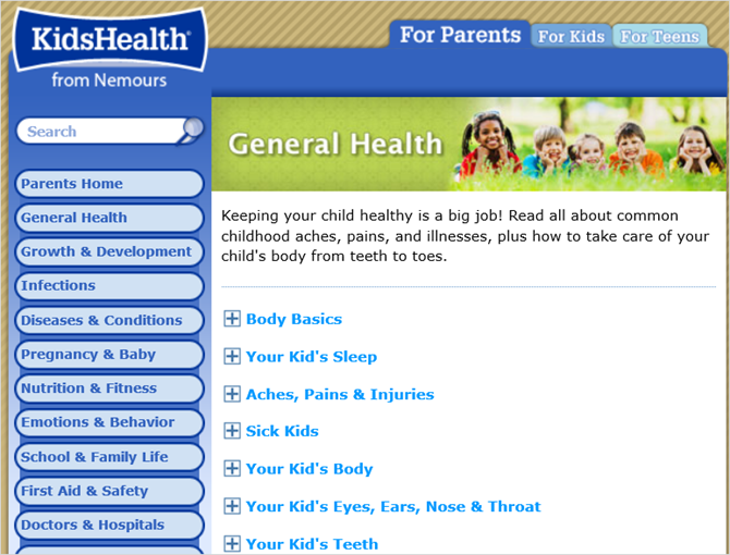 kidshealth general web