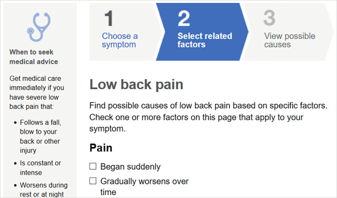 mayo clinic symptoms web