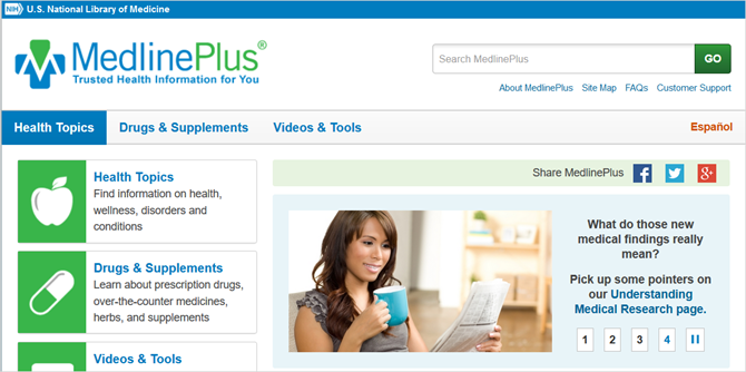 medline plus main web