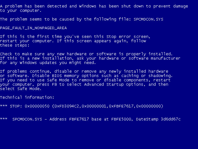 Old Windows Blue Screen