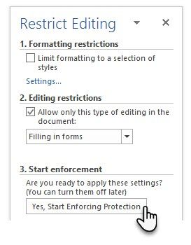 Make a Fillable Form in Word 2016 & Collect Data the Easy Way Restrict editing