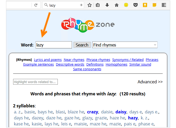 10 Ways Your Browser Can Help You Be More Creative RhymeZone FF