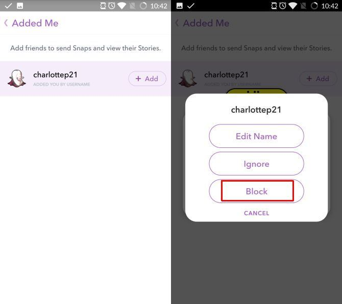 snapchat block user requests