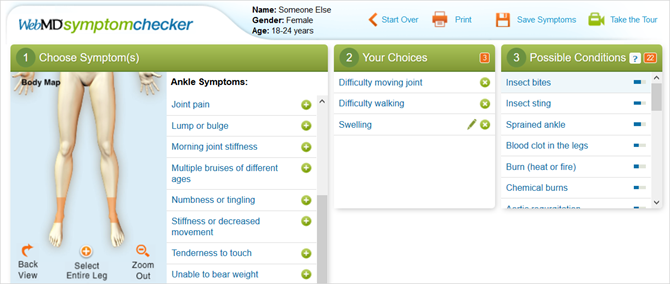 webmd symptom checker