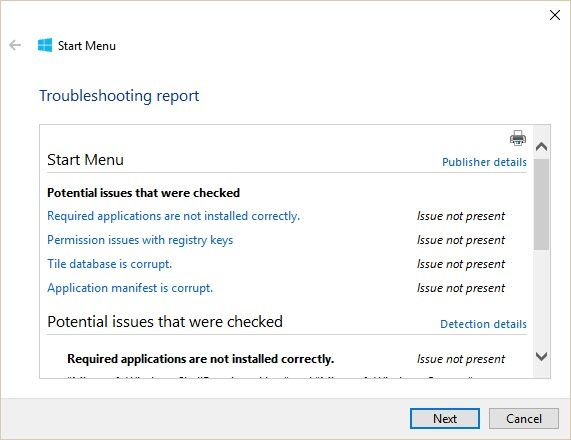 Having Start Menu or Cortana Issues? Use the Start Menu Troubleshooter Windows 10 Start Menu Report