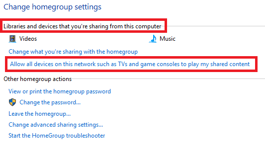 allow phone homegroup windows 10