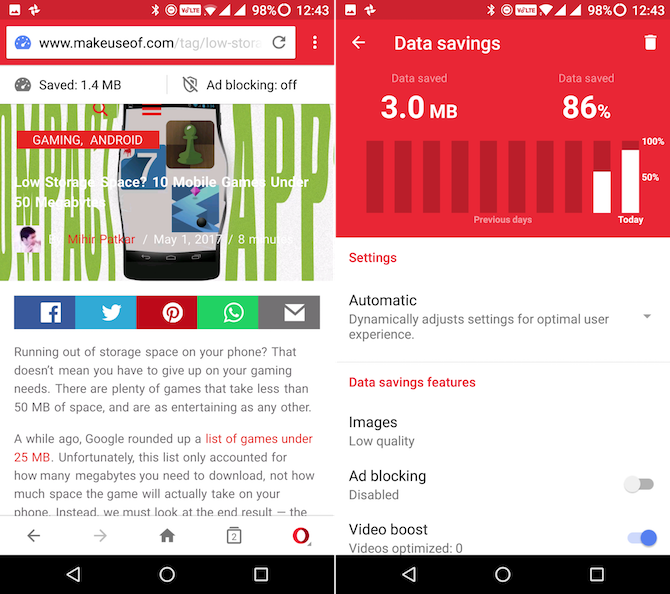 android lite apps opera mini