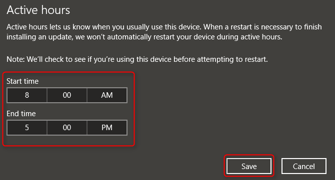 windows 10 update change active hours