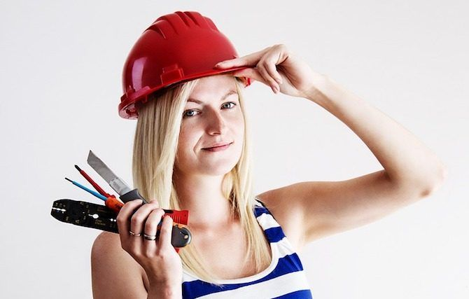 diy repair replace woman fix tools