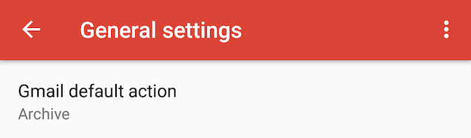 gmail archive android default action