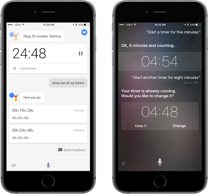 google assistant iphone timers