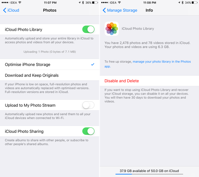 icloud photo library settings