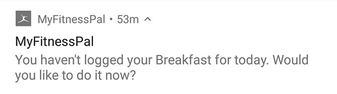 myfitnesspal notification