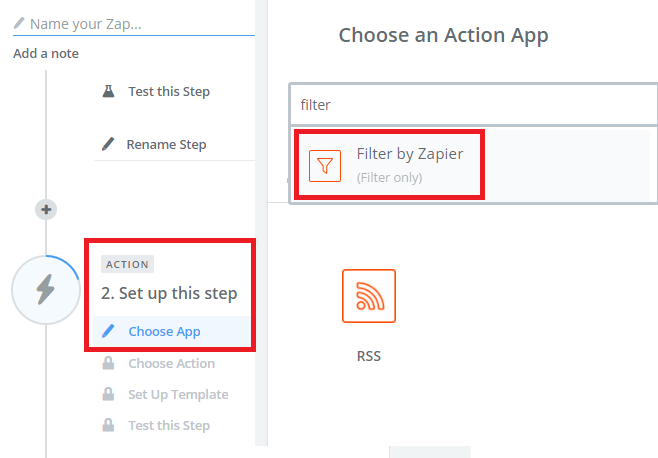 rss by zapier filter