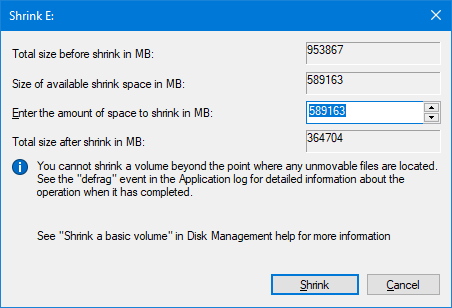How to Set Up a Second Hard Drive in Windows: Partitioning shrink partition