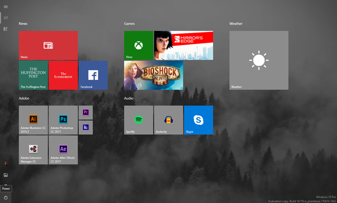 Windows 10 Start menu full screen