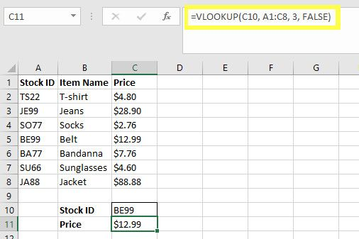 stock checker vlookup