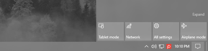 tablet mode Windows 10