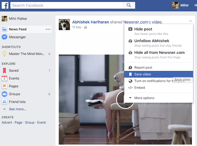 video bookmark facebook