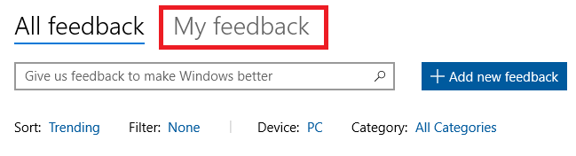 windows 10 feedback hub my feedback