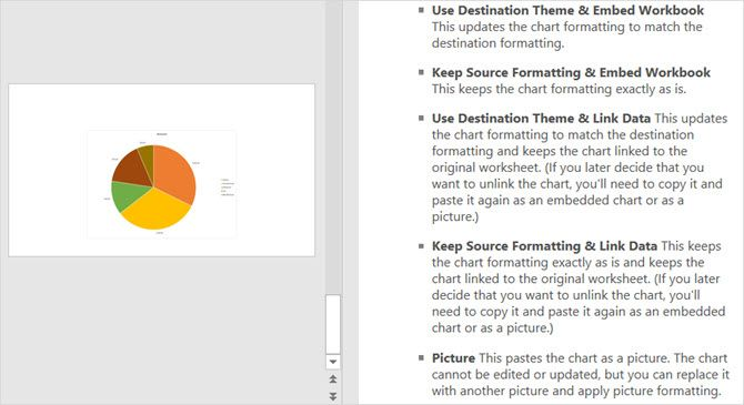 chart paste options full powerpoint