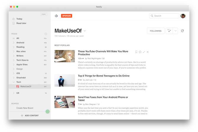 Mac RSS Readers Feedly for Mac 1