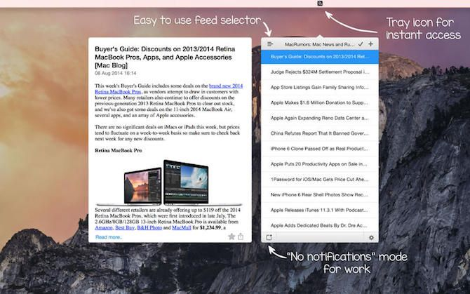 Mac RSS Readers menu bar app