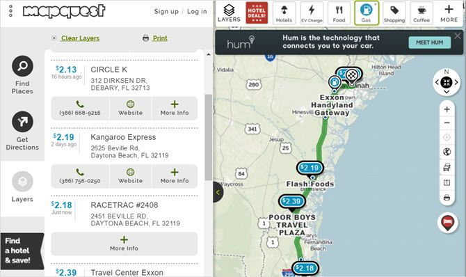 mapquest planner gas web