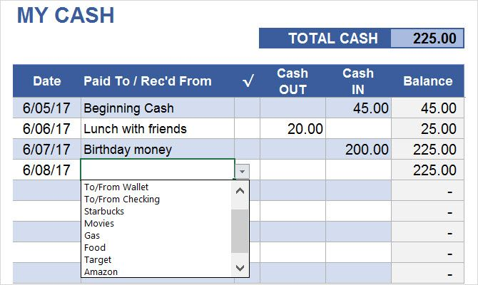 money tracker spreadsheet