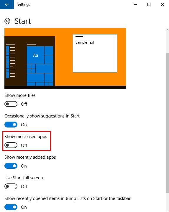 "How to Remove ""Most Used Apps"" From Windows 10 Start Menu MostUsed2"