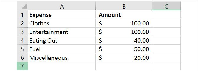 simple spreadsheet data excel