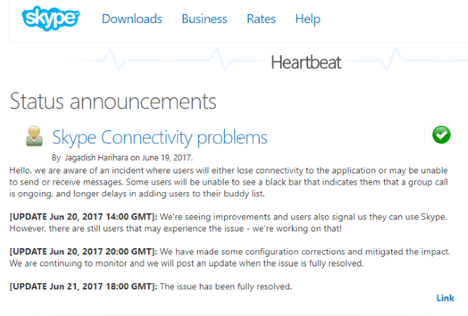 When Skype Is Not Working, You Must Check These Settings! Skype Heartbeat Page