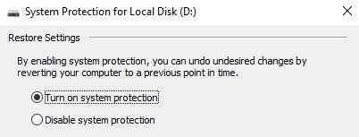 5 Things to Check When Your System Restore Is Not Working Windows 10 Turn on System Protection