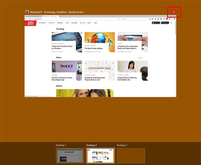 Закройте приложения в Virtual Desktop на Windows 10