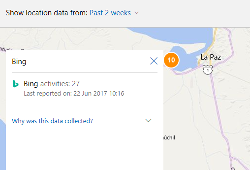 bing location tracking